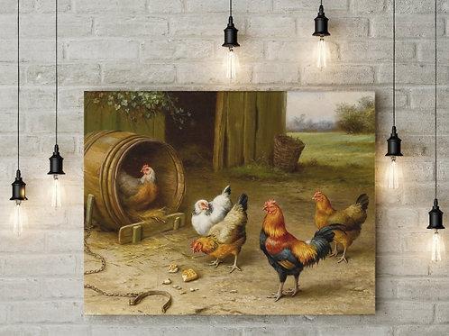 Edgar Hunt, galinha, galo, quadro, poster, replica, gravura, reprodução, canvas, tela, rural, fazenda, sitio, chácara
