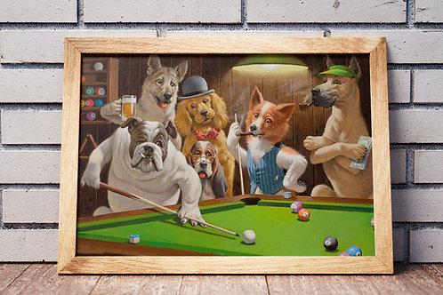 C. M. Coolidge,Cachorros Jogando Sinuca,cachorros jogando,snooker,poster,gravura,reprodução,réplica,canvas,releitura,pintura