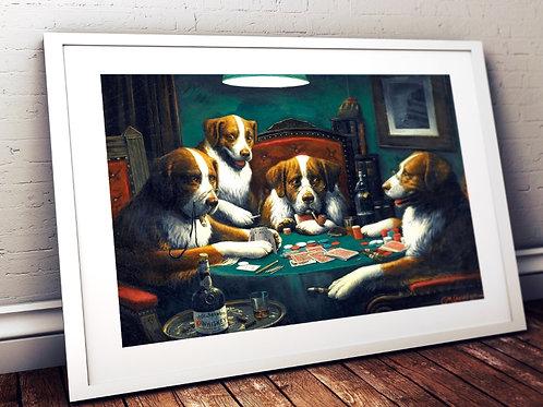 C. M. Coolidge,Cachorros Jogando Poker,dogs playing poker,quadro,poster,replica,canvas,gravura,reprodução,tela,fototela