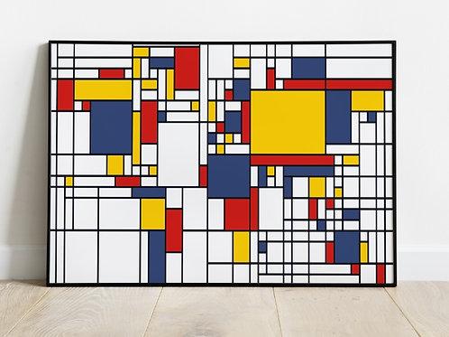 piet Mondrian, Composição, Azul, Vermelho, Amarelo, quadro, poster, gravura, canvas, replica, reprodução, fototela, mapa