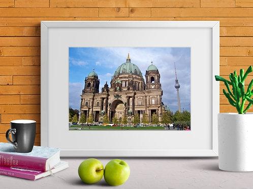 arquitetura,cidades,viagem,Catedral,protestante,Berlim,quadro,poster,gravura,reprodução,réplica,canvas,tela,pintura,fine art