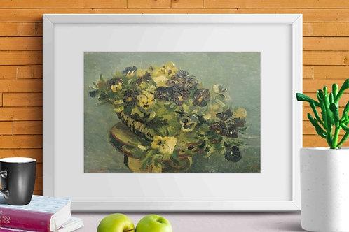 van gogh,  Basket of pansies on a small table, Cesta de amores-perfeitos em uma pequena mesa,poster,gravura,reprodução,canvas