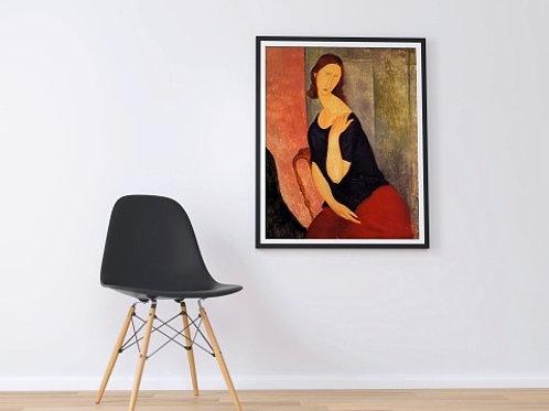 Amedeo Modigliani, Retrato, Jeanne Hebuterne, mulher, quadro, poster, gravura, réplica, reprodução, canvas, tela, pintura