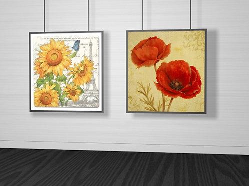 Conjunto de quadros flores, girassóis, papoulas, posters florais, poster floral, gravura florais, gravuras florais, quadros