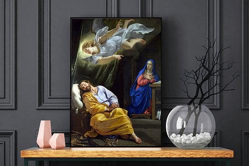 Philippe de Champaigne,O Sonho de São José,quadro,canvas,poster,replica,gravura,reprodução,fototela,tela,pintura,fine art