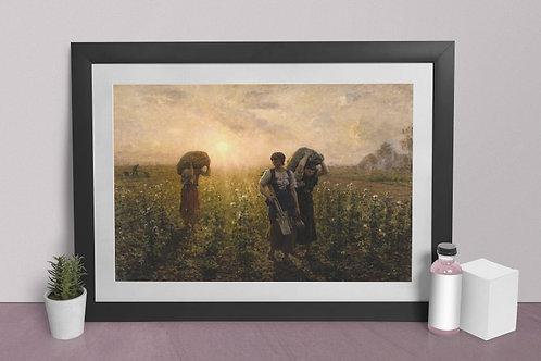 Jules Breton,Fim do trabalho,O fim do dia,quadro, poster, replica, canvas, gravura, reprodução, tela, releitura, fototela
