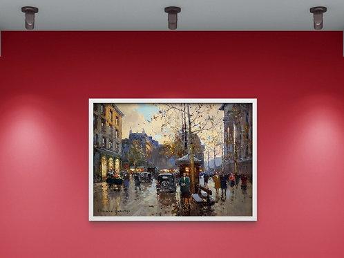 Edouard-Léon Cortès, Café, Praça Madeleine, quadros de Paris, poster de Paris, gravura de Paris, réplica, reprodução, canvas