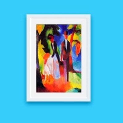 august macke, pessoas no lago azul, People at the Blue Lake, quadro, reprodução, poster, canvas, gravura, replica, tela