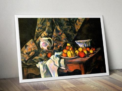 cezanne, Still Life with Flower Holder, natureza morta, com, suporte, flor, quadro, poster, gravura, reprodução, canvas, tela