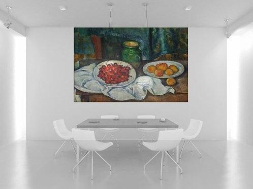 Cezanne, Natureza morta com cerejas e pêssegos, quadro, poster, gravura, reprodução, canvas, replica, releitura, tela