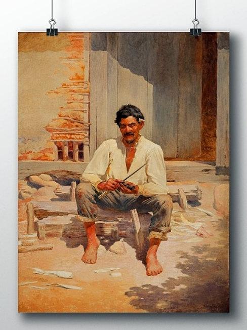 Almeida Junior, Caipira Picando Fumo, quadro, poster, gravura, replica, canvas, reprodução, tela, releitura