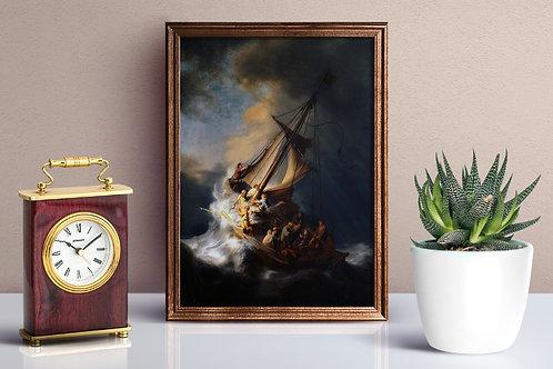 Rembrandt, Tempestade no Mar da Galileia, quadro, canvas,poster,replica,gravura, fototela,tela,pintura,fine art,reprodução