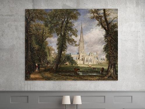 John Constable,A Catedral de Salisbury vista do Jardim do bispo,quadro,canvas,poster,replica,gravura,reprodução,fototela,tela