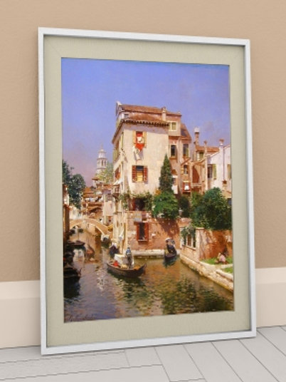 rubens santoro, Gondoleiros no Canal de Veneza, quadro, Poster, gravura, canvas, Réplica, Reprodução, releitura