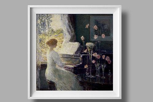 Childe Hassam,A Sonata,The Sonata,quadro, poster, canvas, reprodução, gravura, replica, tela,pintura,fototela