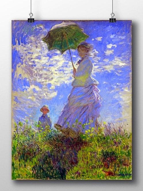 monet, O Passeio, Mulher com Sombrinha, Madame Monet e o Filho, Camille e Jean na Colina, quadro, poster, replica,canvas,tela