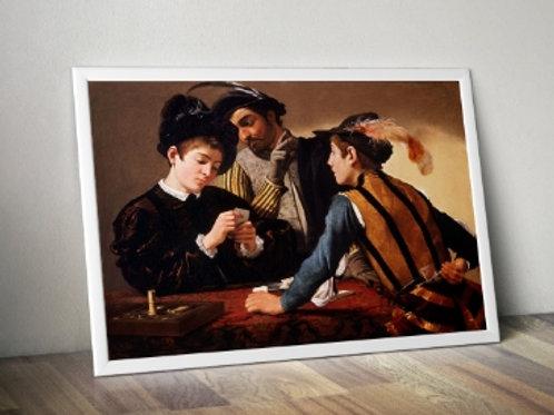 Caravaggio, Os Trapaceiros, the cardsharps, quadro, poster, replica, canvas, gravura, reprodução, tela, releitura