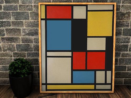 Mondrian, Composição em Azul, vermelho, amarelo, quadro, poster, replica, gravura, reprodução, canvas, fototela, cópia, tela