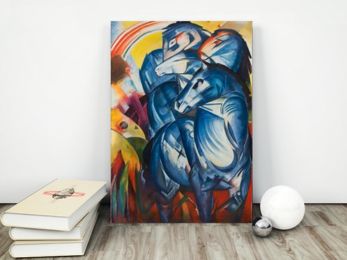Franz Marc,The Tower Blue Horse,A Torre dos Cavalos Azuis,quadro,reprodução,poster,canvas,gravura,replica,tela,pintura