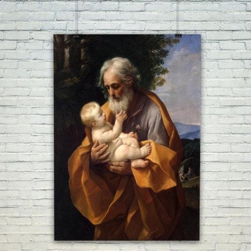 Guido Reni, São José e o Menino Jesus, quadro, poster, replica, canvas, gravura, reprodução, tela,releitura, fototela