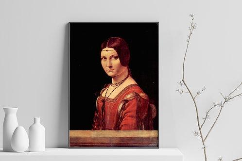 Leonardo Da Vinci,La Belle Ferronière,poster,gravura,reprodução,réplica,canvas,tela,pintura,fine art