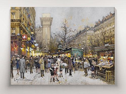 Eugène Galien-Laloue, Porte Saint Denis, portal, portão, quadro, poster, replica, canvas, gravura, reprodução, tela, fototela