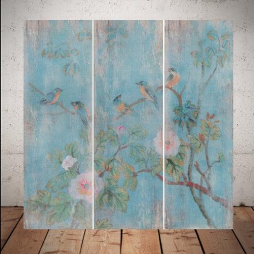 pássaro, passarinho, quadro passarinho, Galho de Flores,tela decorativa, quadro, poster, gravura, reprodução, canvas, replica