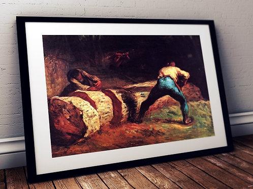 Jean-François Millet, Trabalhadores da floresta serrando madeira,quadro,poster,gravura, canvas, réplica, reprodução, fototela