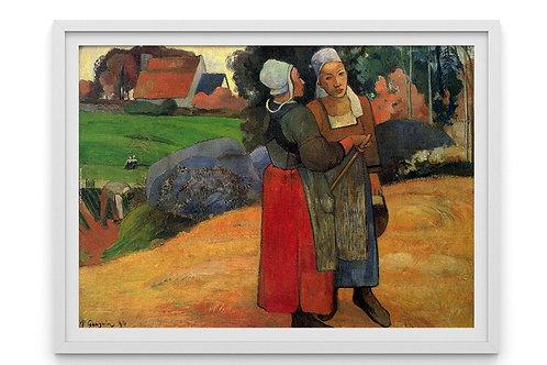 gauguin, duas mulheres bretãs na estrada, Two Breton Women on the Road, quadro, poster, gravura, reprodução, canvas, replica