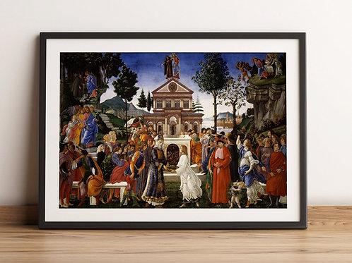 Botticelli,A Tentação de Cristo,Jesus,religioso,quadro,poster,replica,gravura,canvas,reprodução,tela,pintura,parede,decoração