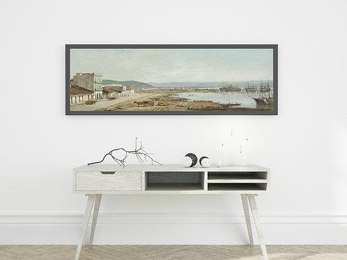 Benedito Calixto,Porto do Consulado,Santos, SP, 1897,poster,replica,canvas,gravura,reprodução,tela,releitura,cópia,pintura