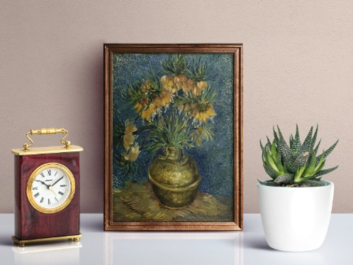 Van Gogh, Fritillaries imperiais em um vaso de cobre, Crown Imperial Fritillaries in a Cooper Vase,poster,gravura,reprodução