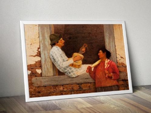 Almeida Junior, O Violeiro, quadro, poster, gravura, replica, canvas, reprodução, tela, releitura