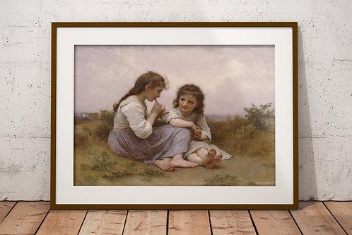 Bouguereau,Idílio da infância,meninas,irmãs,crianças,quadro,canvas,poster,replica,gravura,reprodução,pintura,gicle