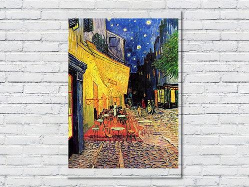 vincent, van gogh, Terraço do Café à Noite, Terraço do Café na Praça do Fórum, café terrace at night, poster, gravura, reprod