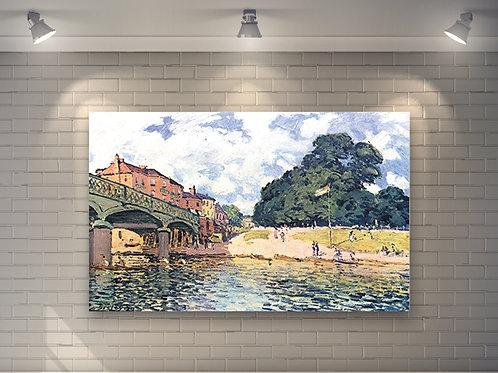 alfred sisley, ponte em Hampton Court, Bridge of Hampton Court, quadro, poster, replica, canvas, gravura, reprodução, tela