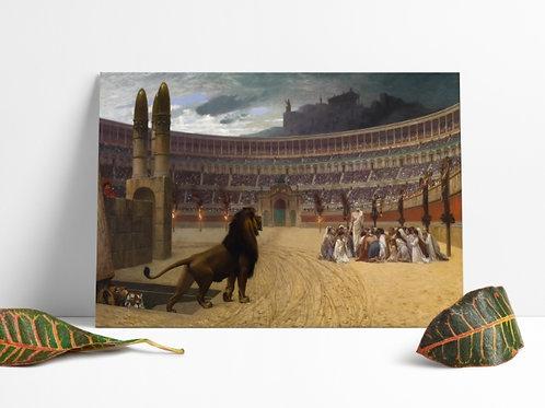 Jean-Léon Gérôme,A Última Oração dos Mártires Cristãos,quadro,poster,gravura,replica,canvas,reprodução,fototela,religiosa