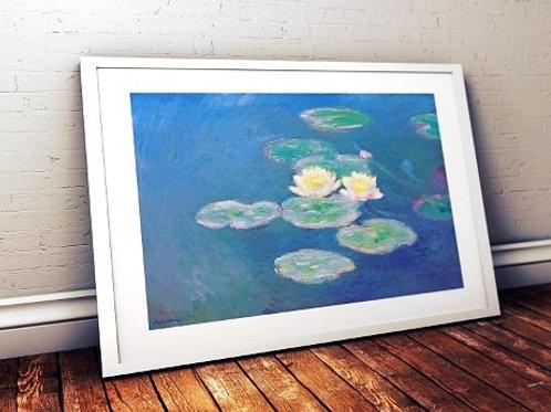 claude Monet, ninféias efeito da noite, Nympheas, effet du soir, quadro, poster, replica, canvas, reprodução, gravura, tela