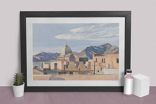 Edward Hopper,Construção no México,realismo,poster,gravura,reprodução,réplica,canvas,releitura,tela,pintura