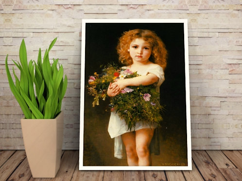 bouguereau,Menina Segurando Flores (1878),Little Girl Holding Flowers,quadro, reprodução, poster,canvas,tela