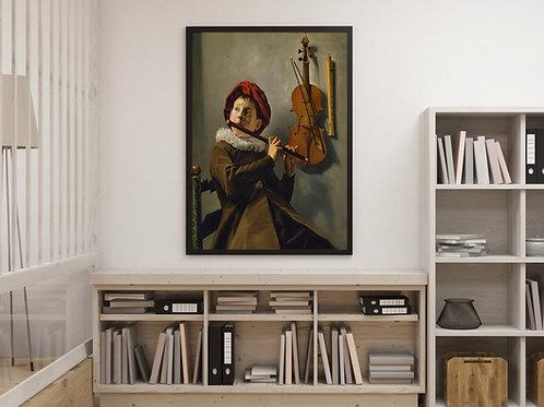 Judith Leyster,Menino Tocando Flauta,quadro,canvas,poster,replica,gravura,reprodução,canvas,fototela,cópia,tela,pintura
