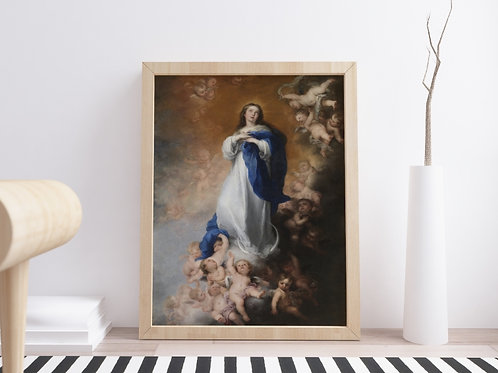 Murillo, Maria Imaculada, religioso, anjos,santa,poster, gravura, reprodução, canvas, replica, fototela,tela,pintura