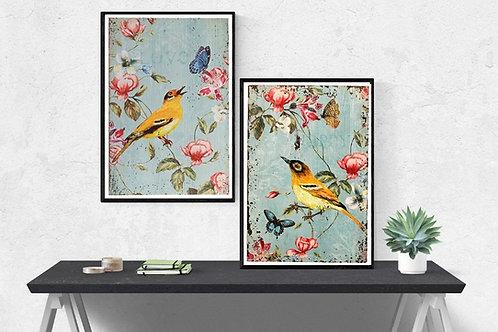 conjunto de quadros, pássaros amarelo, passarinhos amarelo, pássaro,provençal,quadro,poster,gravura,reprodução,canvas,replica