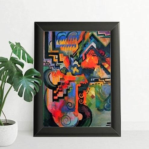 August Macke, Composição colorida, homenagem, Johann Sebastian Bach, quadro, reprodução, poster, canvas, gravura,replica,tela