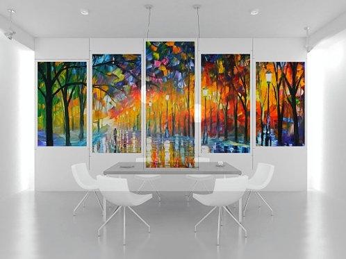 leonid afremov, praça, parque, conjunto de quadros, quadros decorativos, quadros modernos,quadros para sala,quarto,cozinha