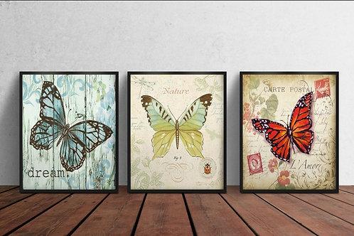 Conjunto de Quadros borboleta, poster borboleta, gravura borboleta,decorativa, quadro, poster, gravura, reprodução, canvas