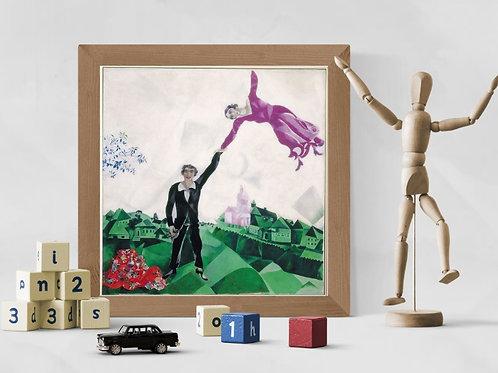 Marc Chagall,La Promenade,Quadro,Poster,Gravura,abstrato,Canvas,preto e branco,