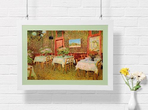 Vincent,Van Gogh,Interior de um Restaurante,quadro, poster, gravura, canvas, replica, reprodução, fototela,pintura,copia,tela