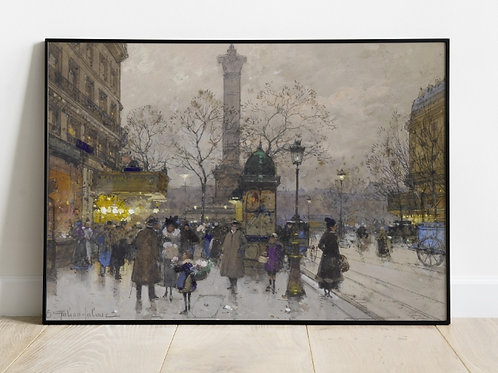Eugène Galien-Laloue, a bastilha, La Bastille, quadro, poster, replica, canvas, gravura, reprodução, tela, fototela