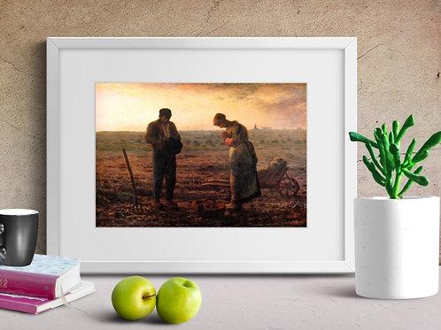 Jean-François Millet, O Angelus, sino,camponeses,quadro, poster, gravura, canvas, réplica, reprodução, foto,tela,fototela